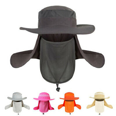 $10.99 • Buy New Hiking Fishing Hat Outdoor Sport Sun Protection Neck Face Flap Cap Wide Brim