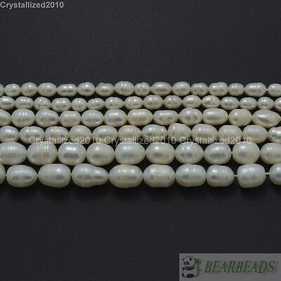 $ CDN6.06 • Buy Natural Freshwater White Pearl Oval Rice Beads 4mm 6mm 7mm 8mm 9mm 10mm 11mm 15