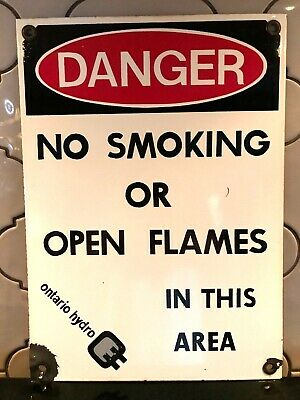 $ CDN110 • Buy Vintage Porcelain Ontario Hydro 'No Smoking Or Open Flames In This Area' Sign