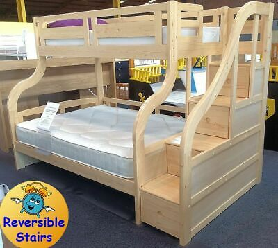 Pine Wooden Triple Bunk Beds With Stairs - Solid Wood New Childrens Bed - Double • 805£