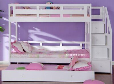 Luxury Single White Wooden Bunk Bed With Trundle Guest Bed - With Stairs - New • 1,009£