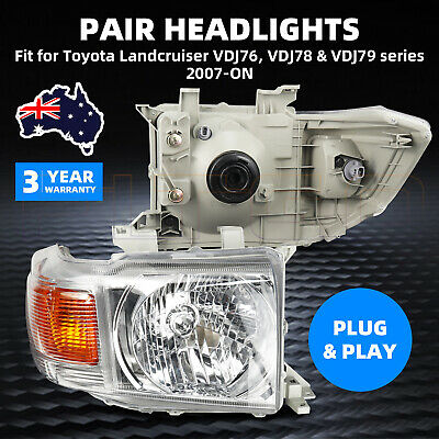 AU279 • Buy Pair Headlights For TOYOTA LANDCRUISER VDJ76, VDJ78 & VDJ79 Series 2007-ON AU
