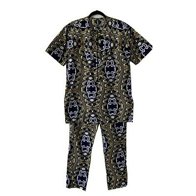 $64 • Buy Mens African 2 Piece Set Top & Pants Tribal Ethnic Traditional Size M/ L Blue #7