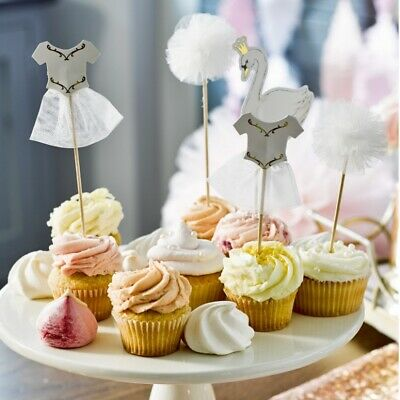 Swans Cupcake Toppers - Ballet Themed Birthday Party: Pack Of 12 • 7.50£