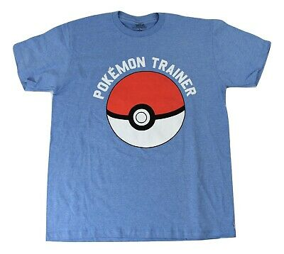 Pokemon Mens Light Blue Trainer Ball Shirt New S, M, L • 6.44£