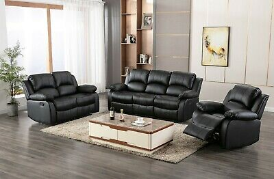 Leather Recliner 1 2 3 Seater Sofa, Brown, Grey, Black, Couches Set Suite • 499.99£