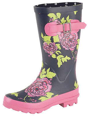 Ladies Wellies Navy Slip On Flower Print Wellington Boots With Gusset • 20.99£