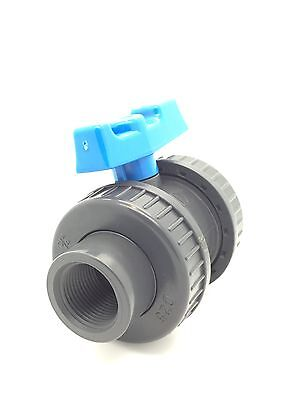 PVC Ball Valves Double Union:  Metric And Imperial:  Threaded & Solvent Weld • 9.95£