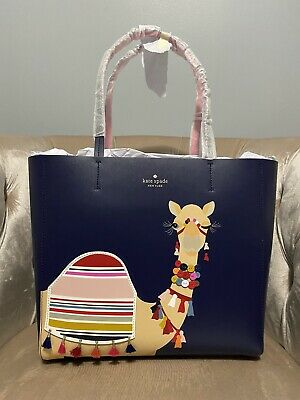 $ CDN252.01 • Buy NWT Kate Spade Spice Things Up Camel Luvvie Leather Tote Bag Handbag Navy Pink