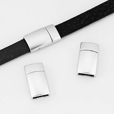 £3.29 • Buy 3Sets Matte Silver 10x3mm Magnetic Clasp For 5mm 10mm Flat Leather Bracelet