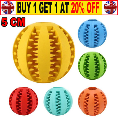 Pet Dog Puppy Teething Dental Health Treat Clean Toy Durable Rubber Ball Chew JS • 4.95£