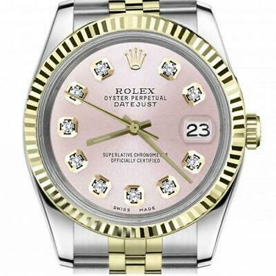 $ CDN6755 • Buy Ladies Vintage Rolex 26mm Datejust Two Tone Metallic Pink Diamond Dial