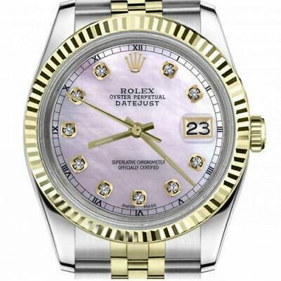 $ CDN6755 • Buy Ladies Vintage Rolex 26mm Datejust Two Tone Pink MOP Mother Of Pearl Dial With D