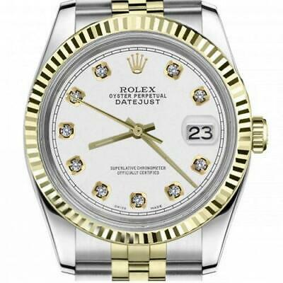 $ CDN6755 • Buy Ladies Vintage Rolex 26mm Datejust Two Tone White Color Dial With Diamond Accent