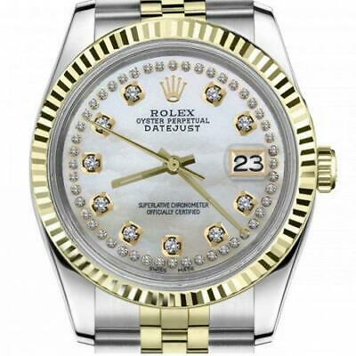 $ CDN6755 • Buy Ladies Vintage Rolex 26mm Datejust Two Tone White MOP Mother Of Pearl String Dia