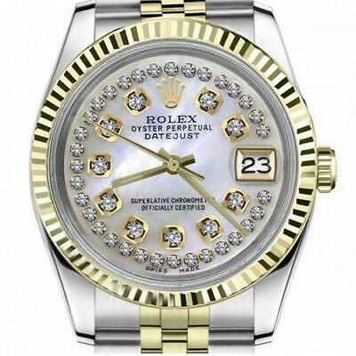 $ CDN6755 • Buy Ladies Vintage Rolex 26mm Datejust Two Tone White MOP String Diamond Dial