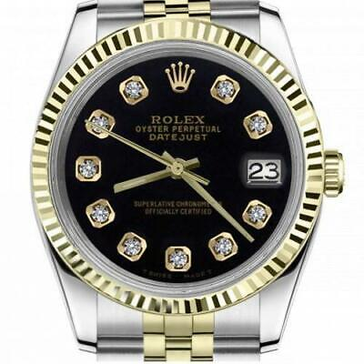 $ CDN6755 • Buy Ladies Vintage Rolex 26mm Datejust Two Tone Black Color Dial With Diamonds