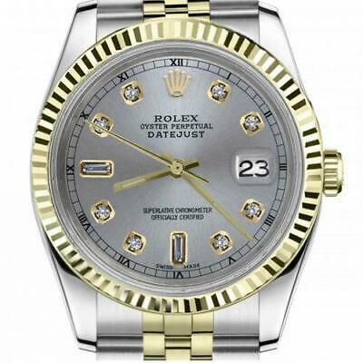 $ CDN6755 • Buy Ladies Vintage Rolex 26mm Datejust Two Tone Slate Grey Color Dial With 8 + 2 Dia