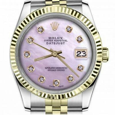 $ CDN6755 • Buy Ladies Vintage Rolex 26mm Datejust Two Tone Pink MOP Mother Of Pearl Diamond Dia