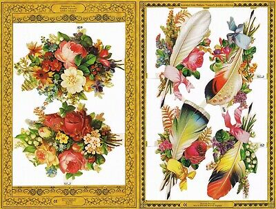 Mamelok Golden Victorian Scraps - Die Cut - A19 / A20 - Flowers And Feathers. • 1£