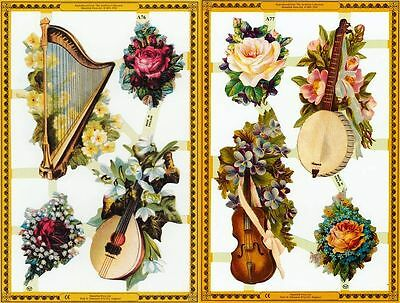 Mamelok Golden Victorian Scraps - A76 / A77, Flowers And Stringed Instruments • 1£