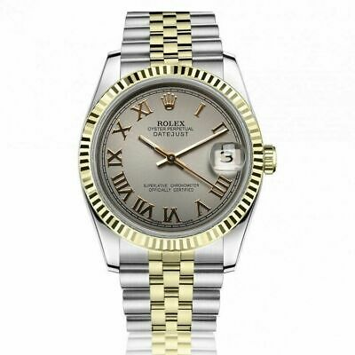 $ CDN8689.33 • Buy Rolex 36mm Datejust Grey Roman Numeral Dial Two Tone Jubilee Watch Model 16013