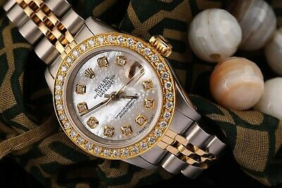 $ CDN7610.23 • Buy Ladies Rolex 26mm Datejust Vintage Diamond Bezel Two Tone White MOP Mother Of Pe
