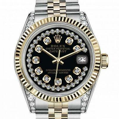 $ CDN7683.72 • Buy Ladies Rolex 26mm Datejust Two Tone Vintage Fluted Bezel With Lugs Black String