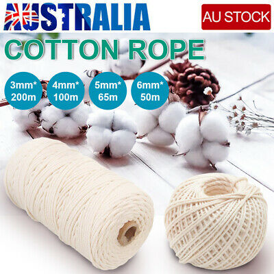 AU17.69 • Buy 3/4/5/6mm Macrame Rope Natural Beige Cotton Twisted Cord Artisan Hand Craft AU