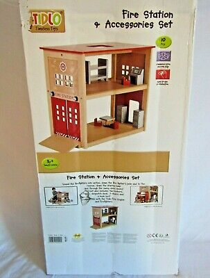 Tidlo Wooden Fire Station With Accessories Bnib Pintoy John Crane Quality Made • 54.95£