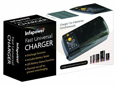 C012 Infapower Universal Battery Charger For AA, AAA, 9v Volt, C And D Cells • 13.99£