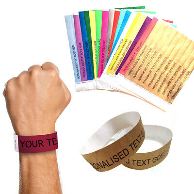 £7.99 • Buy 100 Personalised Paper Wristbands Tyvek Birthday Halloween Party Event Ticket