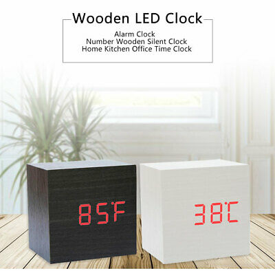 Wood Cube LED Alarm Voice Control Digital Desk Bedside Clock Wooden Temperature • 12.50£