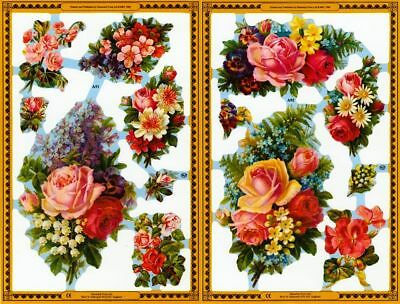 Mamelok Golden Victorian Scraps - Die Cuts - A91 / A92, Roses And Other Flowers. • 1£