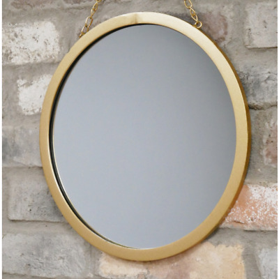Round Gold Mirror Hanging Metal Chain Metallic Wall Art Deco Hallway Living Room • 22.99£