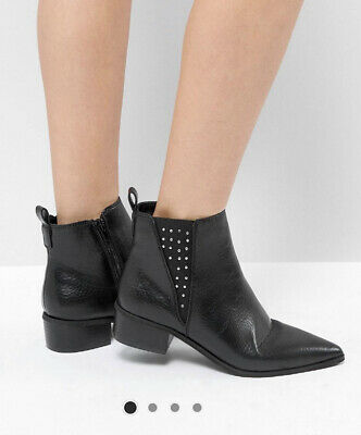 Zara London Rebel Pointed Chelsea Studded Ankle Boots 6 Leather Festival • 22£