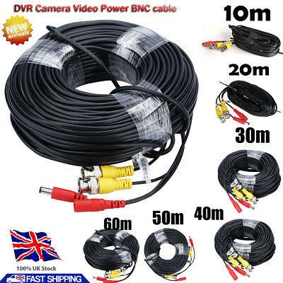 10M-60M BNC DC Wire CCTV Security Video Camera DVR Data Power Extension Cables • 5.99£