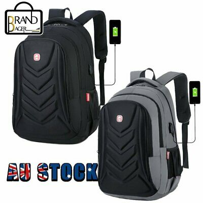 AU30.59 • Buy Swiss 15.6  Laptop Backpack EVA Protect Shell Travel School Bag USB Charge Port