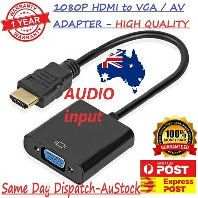 AU9.90 • Buy 1080P HDMI Male To VGA Female Cable Converter Adapter For Monitor/TV/PC_AU STOCK