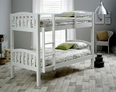 £229.99 • Buy Mayflower Solid Wood White Bunk Bed 3ft Single Bed With Mattresses Bedroom