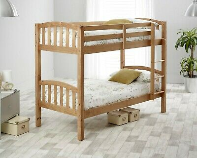 Mayflower Solid Wood Pine Bunk Bed 3ft Single Bed With Mattresses Bedroom • 369.99£