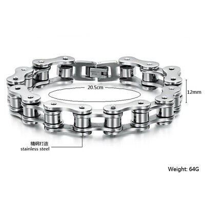 Men Biker Chain Bracelet Bike Punk Bicycle Bangle UK Gothic Gift Stainless Steel • 5.48£