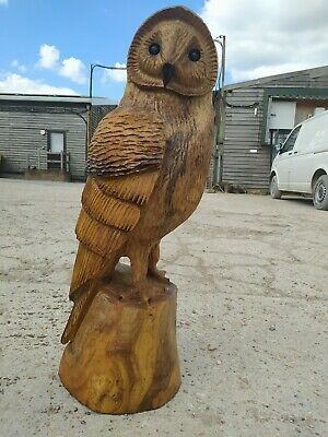 Sale Sussex Chainsaw Wood Carving Owl  Elm Home Garden Rustic Sculpture Art  • 200£