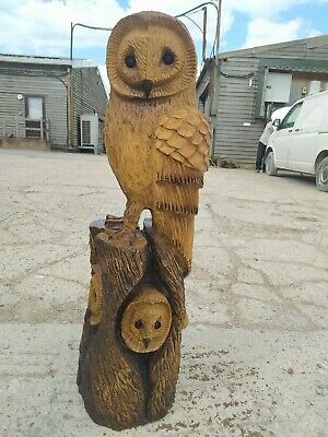 Sale Sussex Chainsaw Wood Carving Owl  Elm Home Garden Rustic Sculpture Art  • 260£