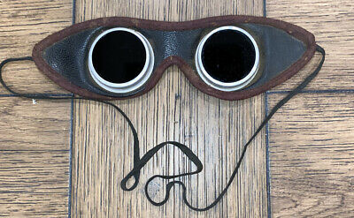 $49.99 • Buy Antique Leather Welding Glasses Goggles Green Lens Still Work Glass No Scrat