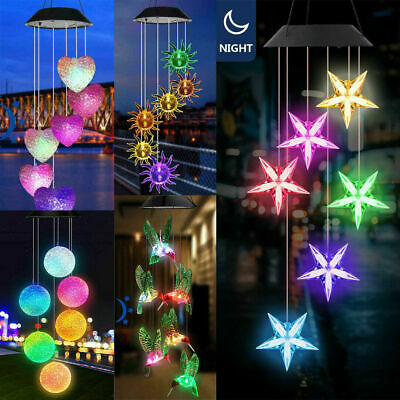£7.39 • Buy Solar LED Garden Wind Chimes Outdoor Color Changing Xmas Lights Tree Hanging UK