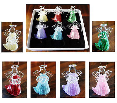 Set Of 6 Glass Angels Christmas Tree Hanging Hand Made Decorations Boxed H4.5cm  • 16.99£