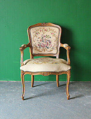 Antique French Style Elbow Chair, Occasional, Carved, Tapestry, Bedroom, Carver • 85£