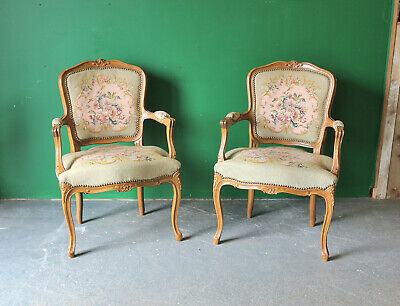Pair French Style Carved Chairs, Reproduction Antique, Tapestry, Occasional • 155£