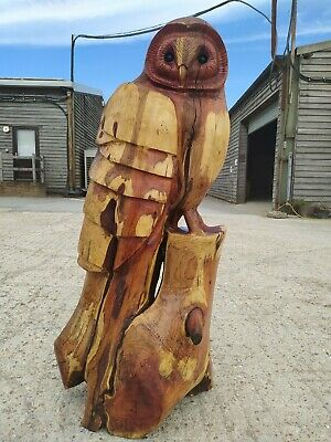 £500 • Buy Great Christmas Gift Sussex Chainsaw Wood Carving Owl Garden Rustic Sculpture